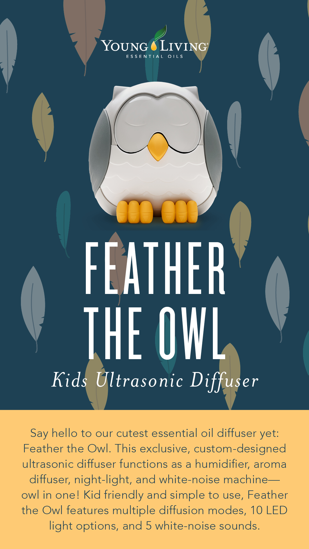 Feather The Owl Diffuser Cool Mist Humidifier Night